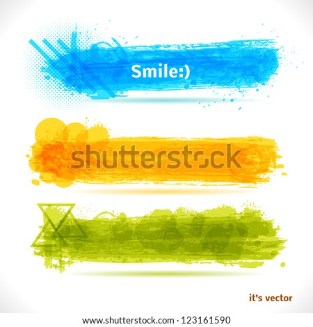 Grunge Banners. Vector Art Backgrounds. - stock vector