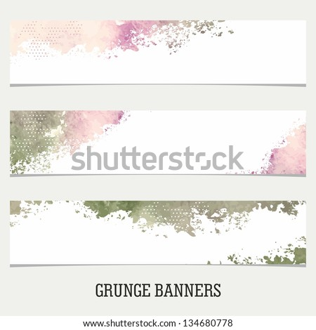 Grunge Banners. Watercolor vintage background. - stock vector