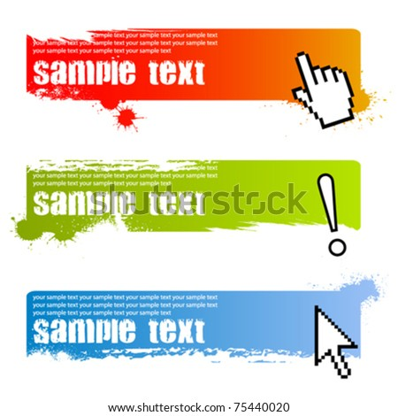 grunge banners with cursors - stock vector