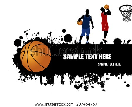 Grunge basketball poster with basketball ball and players, vector illustration