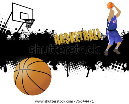 Grunge basketball poster with player and ball,vector illustration