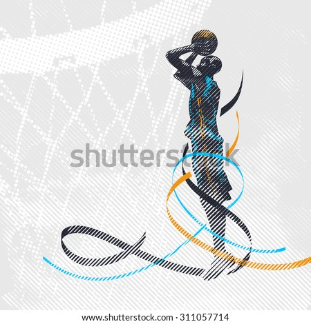 Grunge Basketball shooter - stock vector