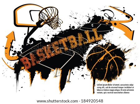 Grunge Basketball Template - suitable for posters, flyers, brochures, banners, badges, labels, wallpapers, web design, advertising, publicity or any branding. - stock vector
