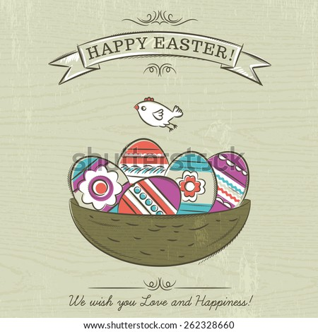 Grunge beige background with nest full of easter eggs, ribbon with the inscription Happy Easter and one bird. - stock vector