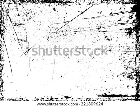 Grunge Black and White Distress Border Frame with Scratch Texture . Vector Illustration.   - stock vector