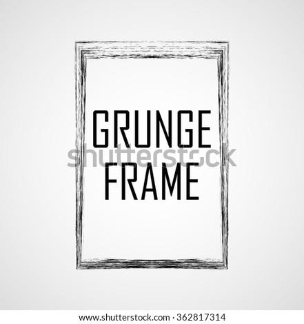 Grunge Black and White Frame . Distress Border Frame for your Design . . - stock vector