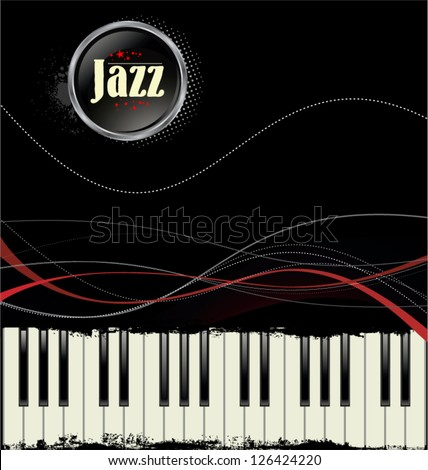 Grunge black and white piano keys with red lines - stock vector
