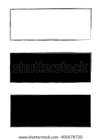 Grunge black frame vector background set - stock vector