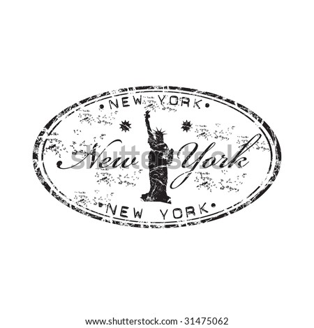 Grunge black rubber stamp with the Statue of Liberty and the name of New York written inside the stamp - stock vector