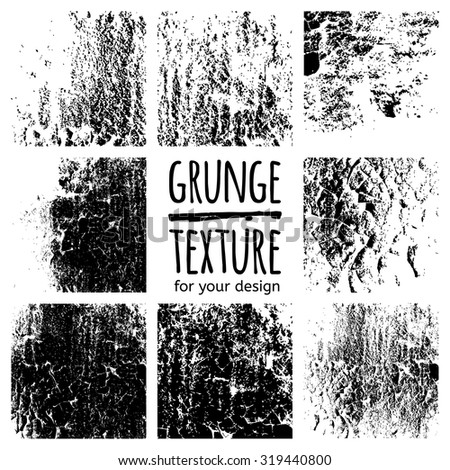 Grunge black textures on white background. Vector set for your design