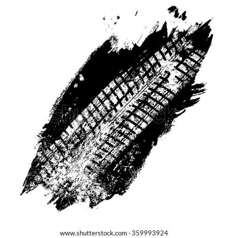Grunge black tire track on white background, vector illustration - stock vector