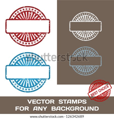Grunge Blank Rubber Stamp Set Template Stock Vector 126342689