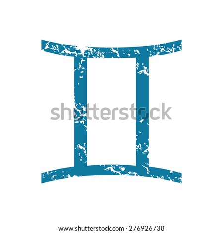 Grunge blue icon with zodiac gemini ssymbol, isolated on white - stock vector