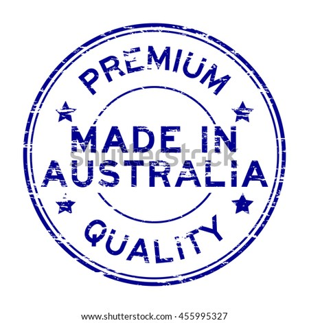 Grunge blue made in australia rubber stamp on white background