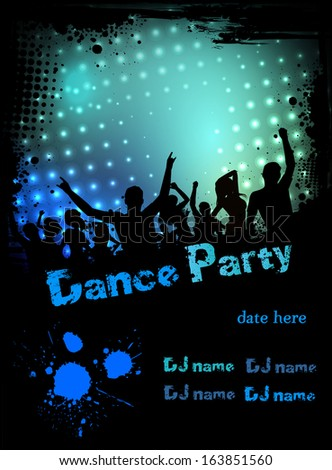 Grunge border poster for disco party with silhouettes of dancing people - stock vector