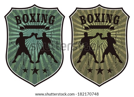 grunge boxing shields - stock vector