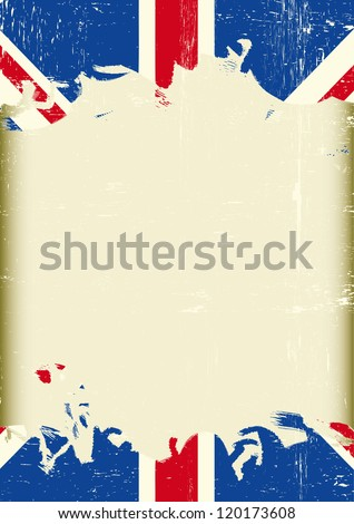 Grunge british flag. A dirty british flag with a large frame for your message. - stock vector