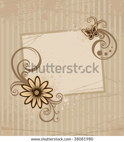 Grunge brown card with flower and drop
