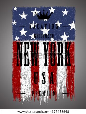 Grunge brush of American flag, Vector illustration  men's t-shirt illustration  t-shirt graphics - stock vector