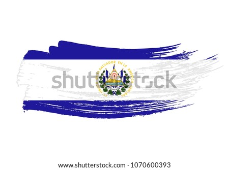 Grunge Brush Stroke El Salvador National Stock Vector Hd Royalty