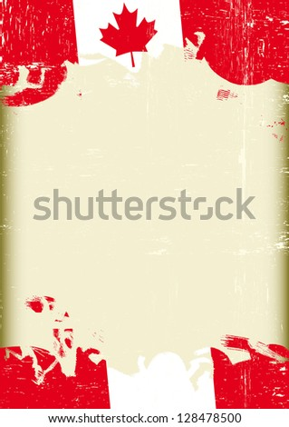Grunge canadian flag. A poster with a large scratched frame and a grunge canadian flag for your publicity. - stock vector