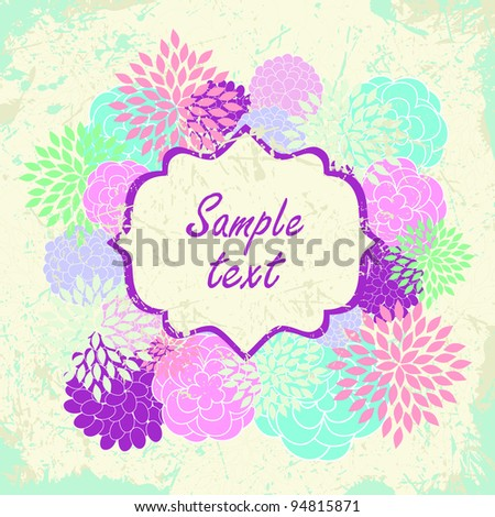 Grunge Card with flowers and label - stock vector