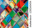 Grunge checkered colorful geometrical composition - stock photo
