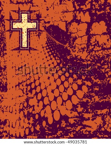 Grunge Christian Cross - stock vector