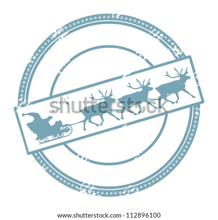 Grunge Christmas post stamp with space for text, vector illustration - stock vector