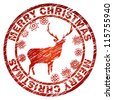 Grunge Christmas stamp with reindeer and snowflakes. And also includes EPS 8 vector - stock vector