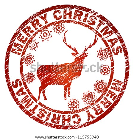 Grunge Christmas stamp with reindeer and snowflakes. And also includes EPS 8 vector