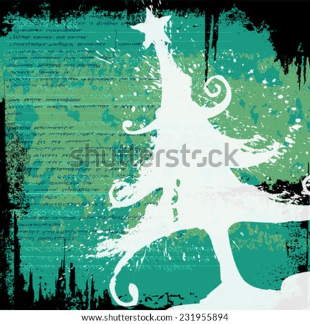 Grunge christmas tree for your text - stock vector