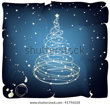 Grunge Christmas Tree, Vector