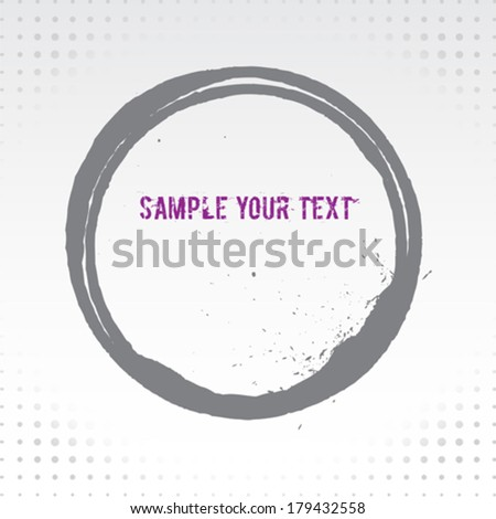 Grunge Circle Background With Purple Text - stock vector
