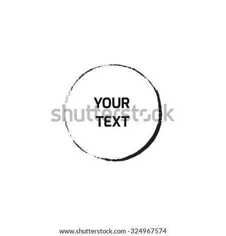 Grunge circle border. Black ink brush stroke. Sketch handmade drawing on white background. Vector illustration eps 10. Stamp draft mockups of grunge overlay texture. For your design and business. - stock vector