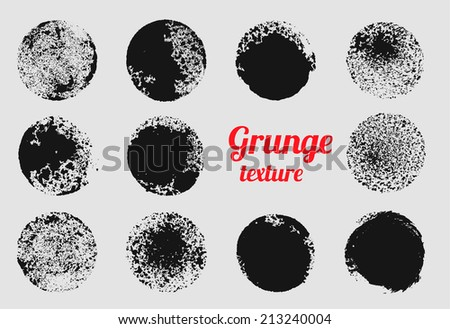 Grunge circle vector element set. Stamp stain texture - stock vector