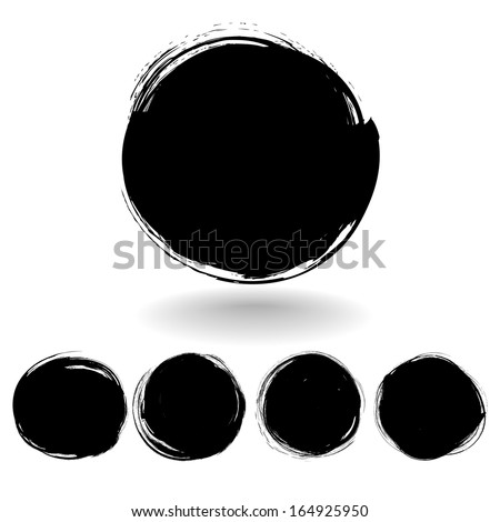 Grunge circles for black paint. Abstract vector ink frames set. Vector illustration. EPS 10 - stock vector