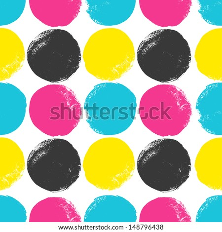 Grunge circles pattern in CMYK colors. Vector background - stock vector
