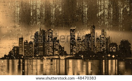 grunge city at night reflecting over calm waters - stock vector