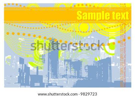 grunge city illustration - stock vector