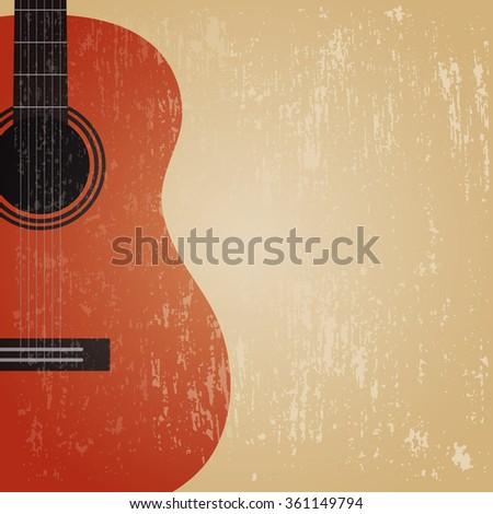 grunge classical guitar , retro background - stock vector
