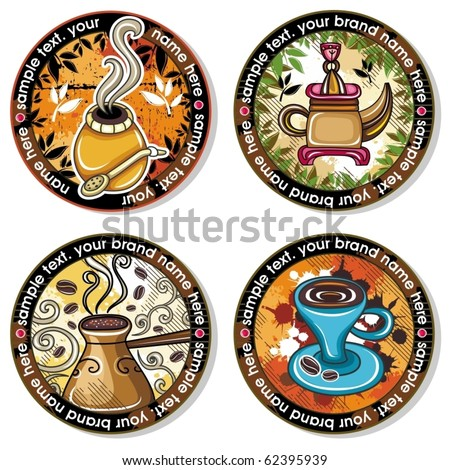 Grunge collection of drink coasters - coffee, tea, yerba mate theme, isolated on white background 4 - stock vector
