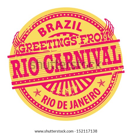 Grunge color stamp with text Greetings from Rio Carnival, Brazil, vector illustration - stock vector