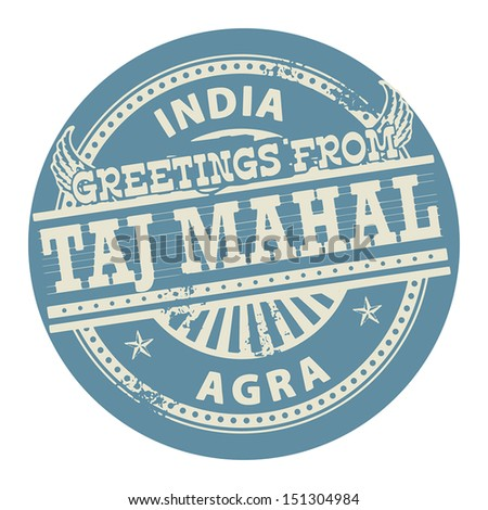 Grunge color stamp with text Greetings from Taj Mahal, India, vector illustration