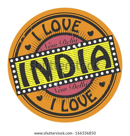 Grunge color stamp with text I Love India inside, vector illustration - stock vector