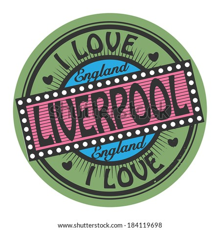 Grunge color stamp with text I Love Liverpool inside, vector illustration