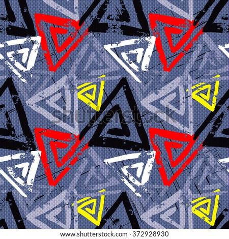 grunge colored graffiti seamless pattern - stock vector