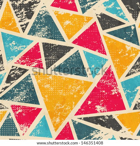 grunge colored triangle seamless pattern - stock vector