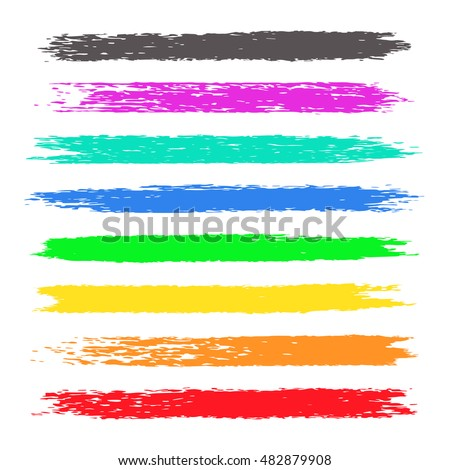 Grunge colorful chalk stripes. Highlight marker stroke, spots bright color. Set of vector brushes. Design elements on white background