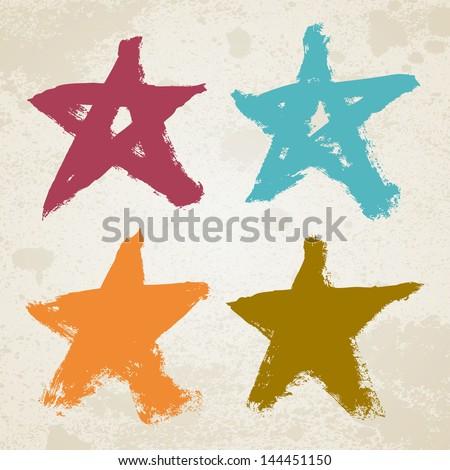 Grunge colorful stars vector illustration set - stock vector